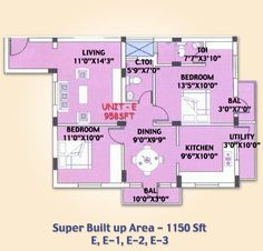 SMB Towers Karaikudi, Flat No D, D-1, D-2, D-3 in 2 bedrooms and Total Area of 1051 Sqft and the Main Door Facing East, luxurious lifestyle  dream house at price
