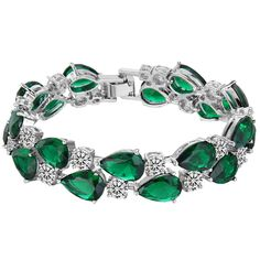 EVER FAITH® Silver-Tone Prong Cubic Zirconia Vintage Style Dual Layer Tear Drop Bracelet Emerald-color >>> Find out more about the great product at the image link. (This is an affiliate link and I receive a commission for the sales)