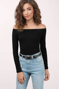 9e775732c46 Ready for anything in the Cosette Off Shoulder Bodysuit. An off shoulder  fave made in