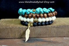 FEATHER-Set of 4 Stretch stackable bracelets in White,Turquoise,Black and Brown Boho chic Indie Southwestern Bohemian Gypsy beaded bracelet