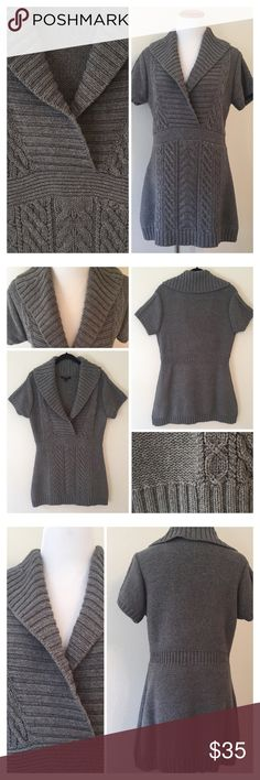 """SHAWL COLLAR TUNIC SWEATER -Short sleeves -Shawl collar -Empire-cut waist -Ribbed trim at neckline, sleeves and hem -Hits below the hip -70% Cotton 22% Wool 22% Laine -Hand Wash -Measurements:  -Shoulder to hemline: 31.5"""" -Chest: 38"""" plus stretch   2+ BUNDLE=SAVE  ‼️NO TRADES--NO HOLDS--NO MODELING   Brand Authentic   ✈️ Ship Same Day--Purchase By 2PM PST   USE BLUE OFFER BUTTON TO NEGOTIATE   ✔️ Ask Questions Not Answered In Description--Want You Yo Be Happy Banana Republic Sweaters Cowl…"""