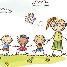 Teacher and children Cartoon Kids, Cute Cartoon, Church Nursery Decor, Video X, Ecole Art, People Illustration, Happy Kids, Kids Education, Easy Drawings