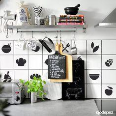 Vinilo decorativo Pack 048: Azulejos para la cocina. Vinilos decorativos Vinilos adhesivos Wall Art Stickers wall stickers Ceasar Dressing, Grits, Shoe Rack, Shelves, Kitchen, House, Vintage, Home Decor, Painted Tiles