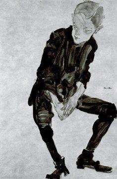 Seated boy / Egon Schiele / 1910 ~Via Carlos Presto