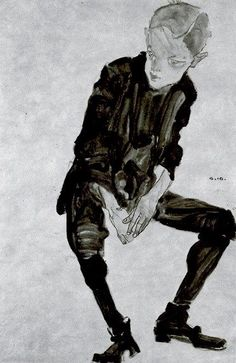 Seated boy / Egon Schiele / 1910