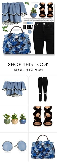 """All Denim"" by ucetmal-1 ❤ liked on Polyvore featuring HUISHAN ZHANG, Boohoo, Gianvito Rossi, Skagen, Fendi, denim and alldenim"