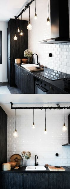 Inspiring Small Space Kitchen Lighting Kitchens arent just for cooking, theyre often the spot where people collect in the home. Whether youre looking for bigger kitchen lighting for your cooking tasks or desire to create a more open tone for friends an Interior Exterior, Kitchen Interior, New Kitchen, Kitchen Decor, Design Kitchen, Kitchen Modern, Vintage Kitchen, Exterior Design, Kitchen Colors