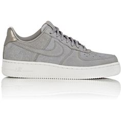 Nike Women's Air Force 1 '07 Premium Sneakers ($120) ❤ liked on Polyvore featuring shoes, sneakers, grey, nike trainers, nike, nike shoes, lacing sneakers and gray shoes