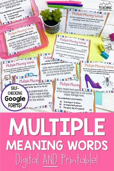 Can you students tell the difference between words that look that have multiple meanings? This fun activity uses context clues to help determine the meaning of a word.  This is an easily differentiated activity and is available in printable and digital versions, perfect for distance and at-home learning.  It has a self-checking Google Forms option and works perfectly with Google classroom! Cause And Effect Relationship, Multiple Meaning Words, Reading Projects, Context Clues, Differentiation, Upper Elementary, Google Classroom, Task Cards, Language Arts