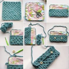Transcendent Crochet a Solid Granny Square Ideas. Inconceivable Crochet a Solid Granny Square Ideas. Beau Crochet, Crochet Mignon, Crochet Pouch, Crochet Diy, Love Crochet, Crochet Granny, Beautiful Crochet, Crochet Crafts, Crochet Bags