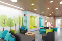 Institutional Design for Women and Children Healthcare Facilities - Parkin Architects Limited Clinic Interior Design, Clinic Design, Dental Office Decor, Dental Office Design, Office Designs, School Design, Waiting Room Design, Waiting Area, Playrooms