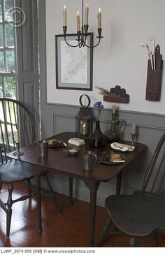 EATING AREAS: period style, game table, colonial, gray dado and trim, candle chandelier. By Jessie Walker. Decor, Primitive Decorating, Painted Wainscoting, Country Decor, Home Decor, Colonial Decor, Primitive Furniture, Primitive Home, Colonial Style