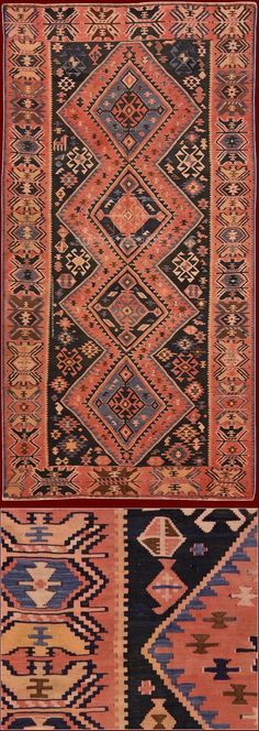 """ANTIQUE SHIRVAN KILIM realized with technique of Kilim """"to break"""", in which the pattern is built exclusively using the colored threads of the woof. For technical reasons the patterns of kilims are constantly geometric,"""