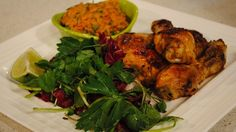 Grilled chicken with spicy peanut sauce.