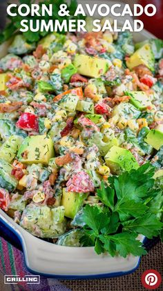 This Corn and Avocado summer salad is loaded with fresh veggies and crispy bacon making it one of my absolute favorite bbq sides to make for backyard cookouts or tailgates. Dont let the summer salad name fool you becase this salad is amazing year round. Cookout Side Dishes, Healthy Side Dishes, Side Dish Recipes, Rib Recipes, Dinner Recipes, Best Salad Recipes, Salad Dressing Recipes, Healthy Recipes, Sweets Recipes