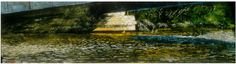 """under the bridge port stanley 14"""" x 40""""  micheal zarowsky watercolour on arches paper - private collection"""