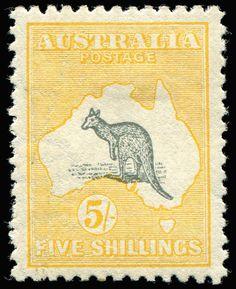 AUSTRALIA - Kangaroos - Second Watermark 5/- Deep Grey & Yellow Watermark Inverted, BW #43Aa, uneven perfs, Cat $2,000.