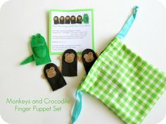 monkey and alligator finger puppets ~ would be so cute in Operation Christmas Child Boxes!