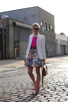 Atlantic-Pacific  4.16.2013  floral fling  Skirt: MSGM (last seen here). Shoes: Miu Miu (seen here). Sweater: JCrew. Blouse: Equipment. Jacket: Zara (old). Bag: Coach 'Willis'. Sunglasses: Karen Walker. Belt: Gap. Jewelry: Jcrew, David Yurman.