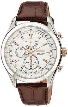 Amazon.com: Seiko Men's SPC129P1 Neo Classic Alarm Perpetual Chronograph White Dial Brown Leather Watch: Seiko: Watches
