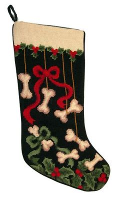 Dog Bones & Ribbons Dog Needlepoint Christmas Stocking: This lovely stocking is littered with ribbons and bones! Dog bones that is! Measuring x velvet backing and needlepointed in wool. A great tribute to your family dog for this holiday season. Dog Christmas Stocking, Cross Stitch Christmas Stockings, Cross Stitch Stocking, Stocking Tree, Christmas Cross, Needlepoint Designs, Needlepoint Kits, Needlepoint Stitches, Funny Needlepoint