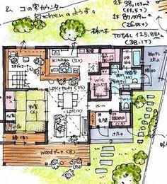 26.55坪 House Layout Plans, House Layouts, House Floor Plans, Japan House Design, Muji Home, Plan Sketch, Japan Architecture, Bookshelves Kids, Apartment Layout