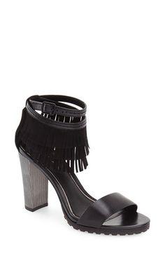 682b2c7dfd9 Elie Tahari  Harlow  Fringe Ankle Strap Sandal (Women) Black Block Heel  Sandals
