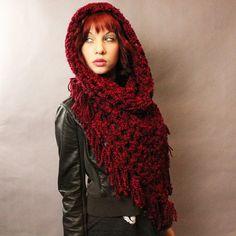 The Fringe Cowl neck scarf hood shawl vegan by HookedWear on Etsy