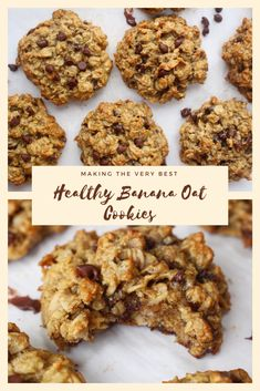 These Healthy Banana Oat Cookies are thick, chewy, filled with chocolate chips, and perfectly sweetened with a touch of maple syrup. Healthy Oat Cookies, Banana Oat Cookies, Banana Oats, Healthy Sweets, Healthy Baking, Sugar Free Oat Cookies, Healthy Banana Oat Muffins, Healthy Breakfast Cookies, 3 Ingredient Banana Cookies