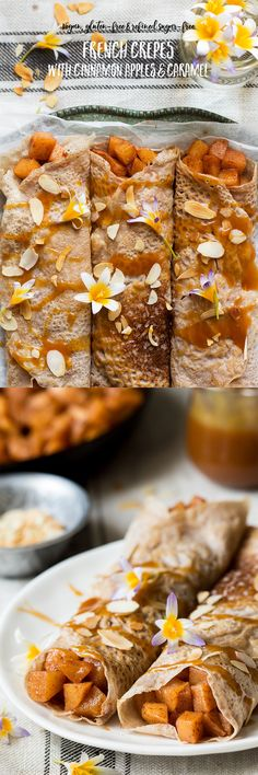 #crepes #pancakes #vegan #glutenfree #cinnamonapples #refinedsugarfree #sugarfree #dessert #frenchcrepes #caramel #recipe #lunch #dinner #treat #sweet