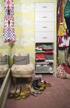 Jouvence toile-wallpapered closet in a Swedish home with decor inspired by Pippi Longstocking #closet #dressing_room #wallpaper
