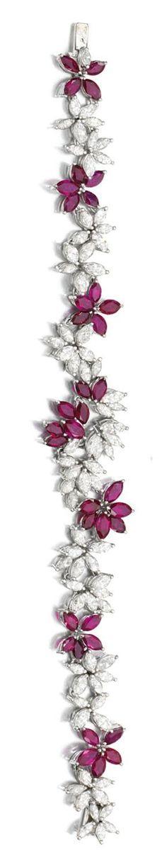 Best Diamond Bracelets  : RUBY AND DIAMOND DEMI-PARURE Comprising: a necklace and bracelet each set with m