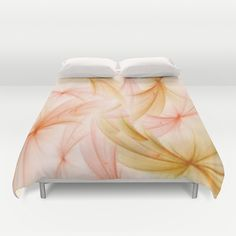 Orange and Peach Fluff Abstract Duvet Cover by Judy Palkimas - $99.00