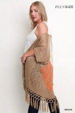 Crochet Fringe Cardigan Curvy Girls Plus Sizing www.laneylus.com