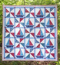Sailing Sailboat foundation pieced baby toddler or lap quilt pattern.