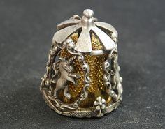Collectible Thimble Nicholas Gish Pewter Merry Go Round Unicorns Carousel   eBay