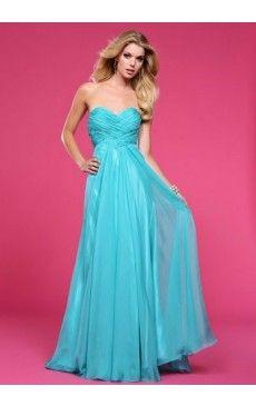 Strapless Floor-length A-line Beading Chiffon Blue Bridesmaid Dress