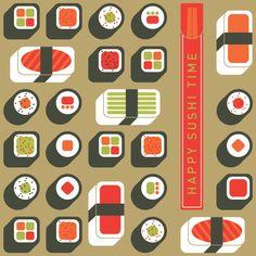 Studio SSS Food Patterns, Print Patterns, Sushi, Nom Nom, Studio, Holiday Decor, Create, Illustration, Happy