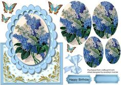 Beautiful White and blue Lilac Topper or Easal Pyramid  on Craftsuprint designed by Ceredwyn Macrae - A lovely card to make and give to anyone on there special day Lovely Topper or Easel White and Blue Lilac card front has one greeting tag and a blank one for you to choose the sentiment, - Now available for download!