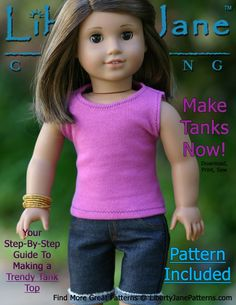 FREE Doll Clothes Pattern  Liberty Jane Trendy Tank Top. PDF file, Download, Print, Sew! crafts
