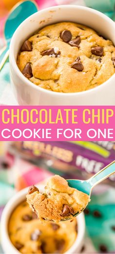 Chocolate Chip Cookie for One is the perfect individual dessert when you're craving something sweet and don't want to make a huge batch of cookies! Mug Cookie Recipes, Cookie In A Mug, Mug Recipes, Retro Recipes, Fast Recipes, Individual Desserts, Easy Desserts, Dessert Recipes, Dessert Ideas