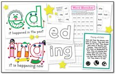 Cute way to teach word endings-- -ed is old people because it happened in the past and -ing is children because it's happening right now.