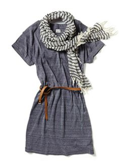 Simple gray dress and scarf