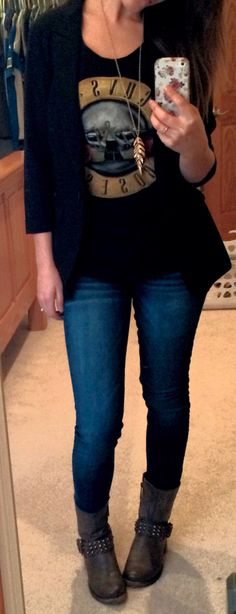 Band tee, black blazer, feather necklace, skinny jeans and studded moto boots. Just my ootd today(: