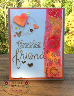 https://flic.kr/p/zib1p9 | Thanks Friend Card | A card I made using the Stamptember Hello Friends stamp set from Simon Says Stamp.Friend die cut from the SSS Friends die.