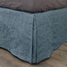 Split-Corner Linen Bedskirt  French Blue