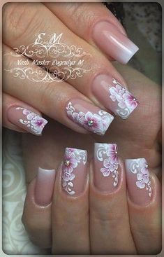 35 Simple Ideas for Wedding Nails Design 2 - Nails Art Ideas Fancy Nails, Trendy Nails, Cute Nails, My Nails, One Stroke Nails, Flower Nail Designs, Flower Nail Art, Nail Art Designs, Art Flowers