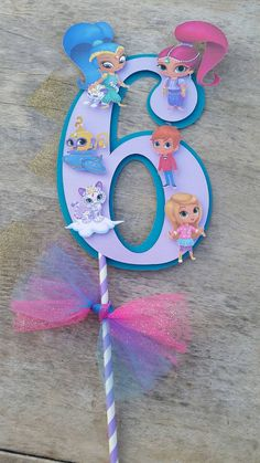 Shimmer and Shine cake topper centerpiece by SilviasPartyDecor
