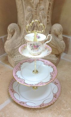 Pink Cake Tier Vintage Pink China 3 Tier by HelensRoyalTeaHouse, $130.00     https://www.facebook.com/HelensRoyalTeaHouse?ref=tn_tnmn  http://www.etsy.com/shop/HelensRoyalTeaHouse
