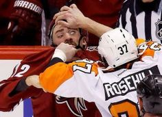 """Paul Bissonnette tweeted this pic of his fight with Jay Rosehill with this comment; he can play fourth line and act as team eye doctor"""". #Sochi2014 #TeamCanada"""